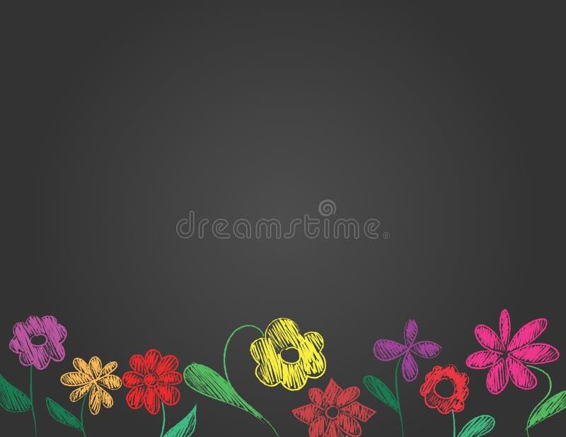 Frontière tirée par la main de fleurs sur le fond noir photos stock