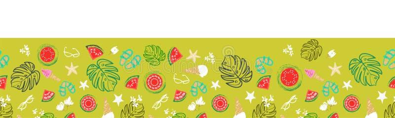Frontière tropicale de vacances d'été, plage de cru rétro et conception sans couture de vecteur de relaxation illustration stock