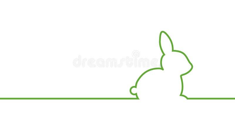 Frontière verte de Pâques de lapin sur le fond blanc illustration libre de droits