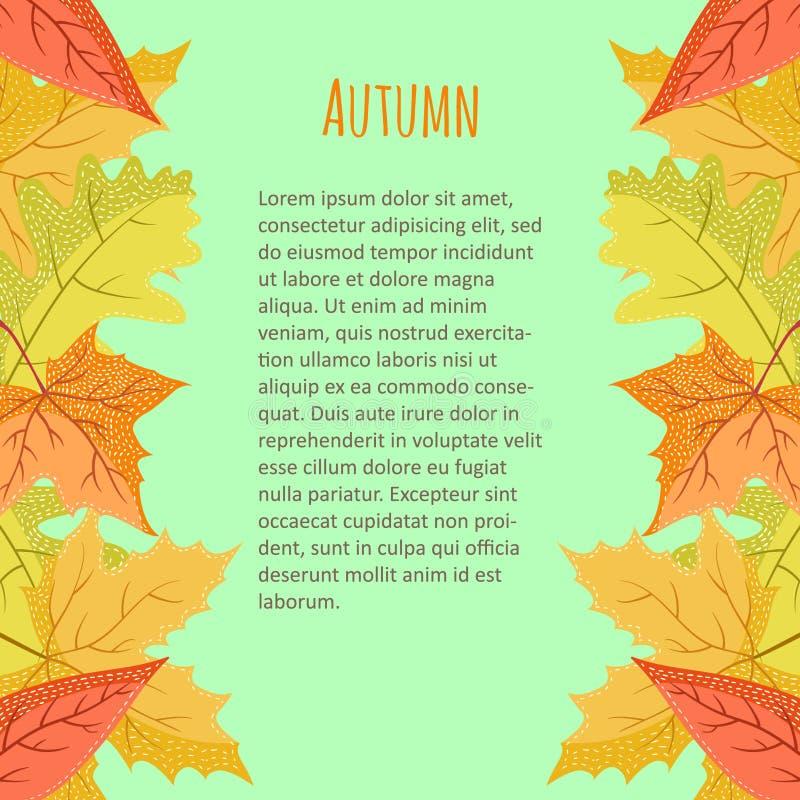 Frontière verticale colorée lumineuse avec des feuilles d'automne sur le fond bleu illustration stock