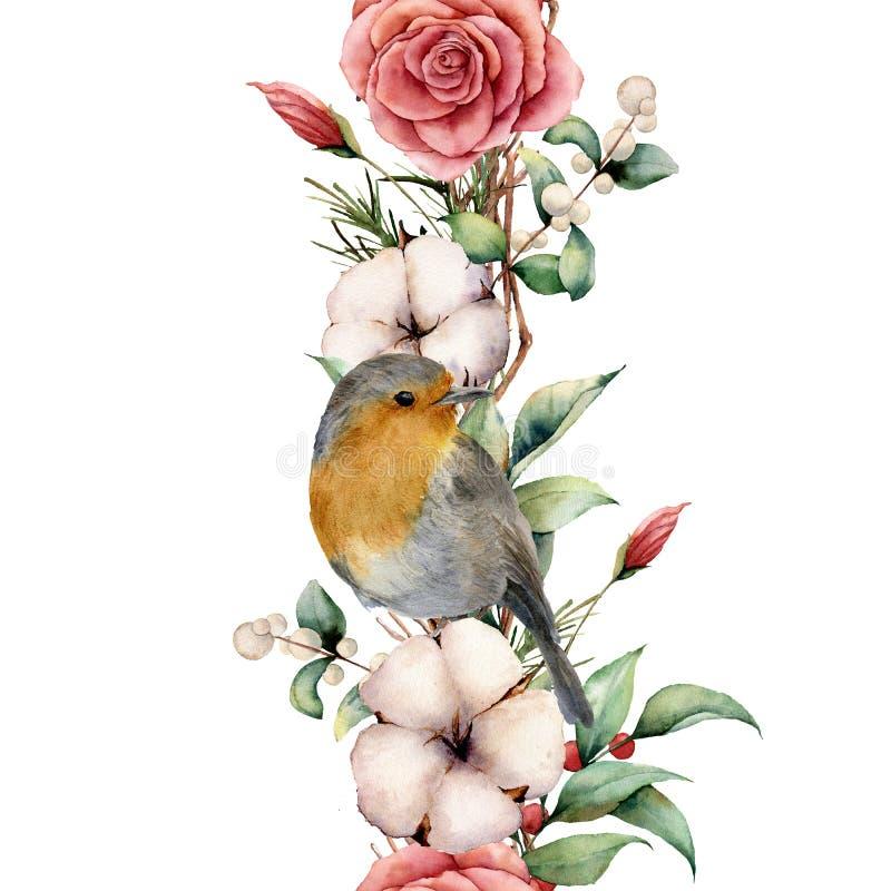 Frontière verticale d'aquarelle avec le merle et les fleurs Frontière, coton, branche, dahlia, baies et feuilles peints à la main illustration stock