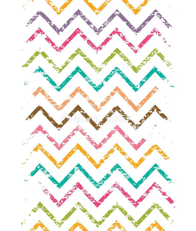 Frontière verticale de chevron grunge coloré sans couture illustration libre de droits