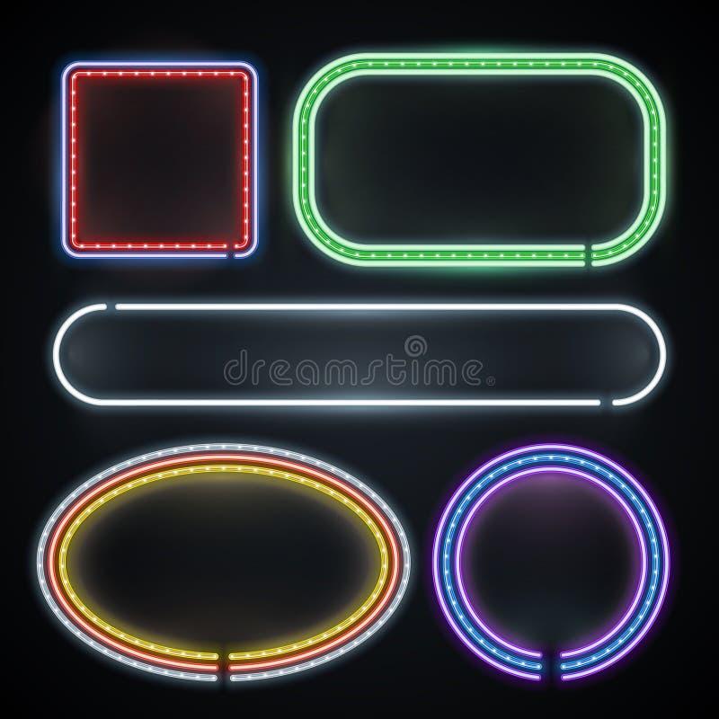 Frontières au néon lumineuses, signes vides de cadre, nouvelle année, casino, ensemble de vecteur de décoration de partie illustration libre de droits
