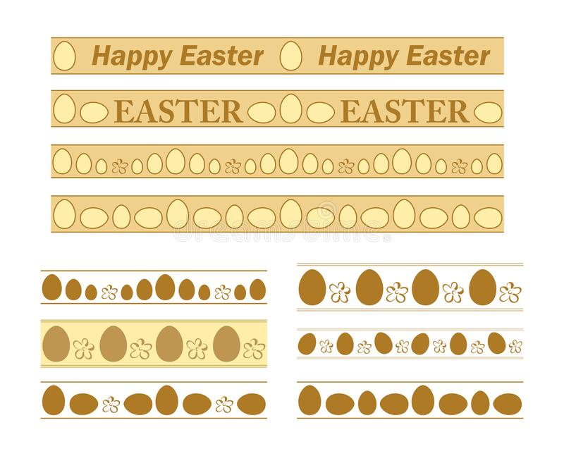 Frontières avec les oeufs décoratifs pour des vacances de Pâques - ensemble de vecteur des ornements illustration de vecteur