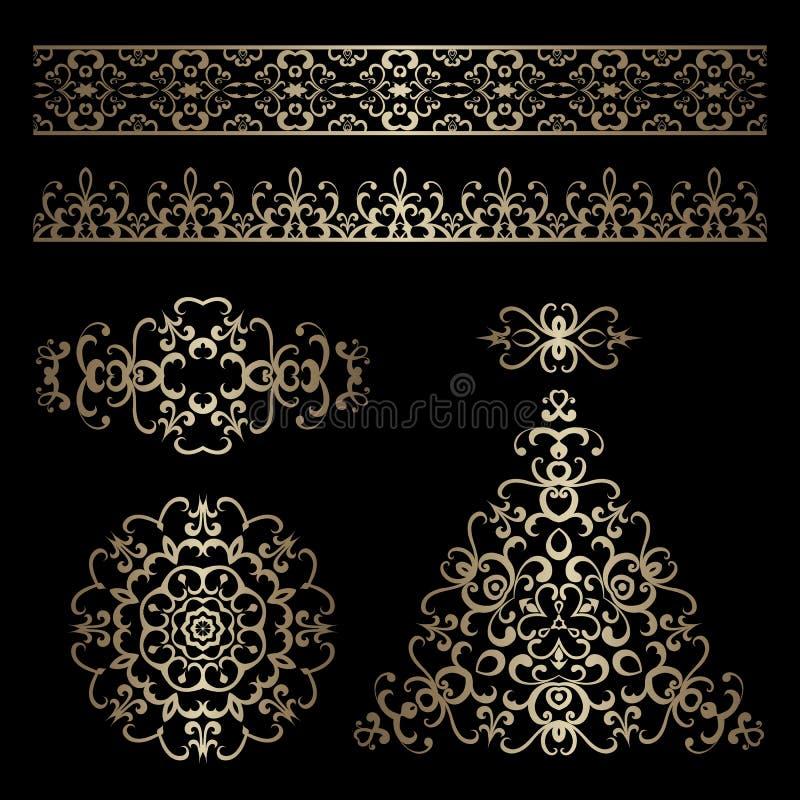 Frontières d'or et swirly éléments de conception sur le noir illustration de vecteur