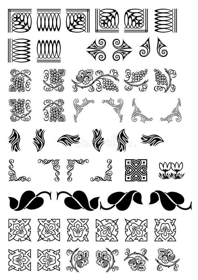 Frontières de fantaisie et coins de page disponibles comme vecteur illustration stock