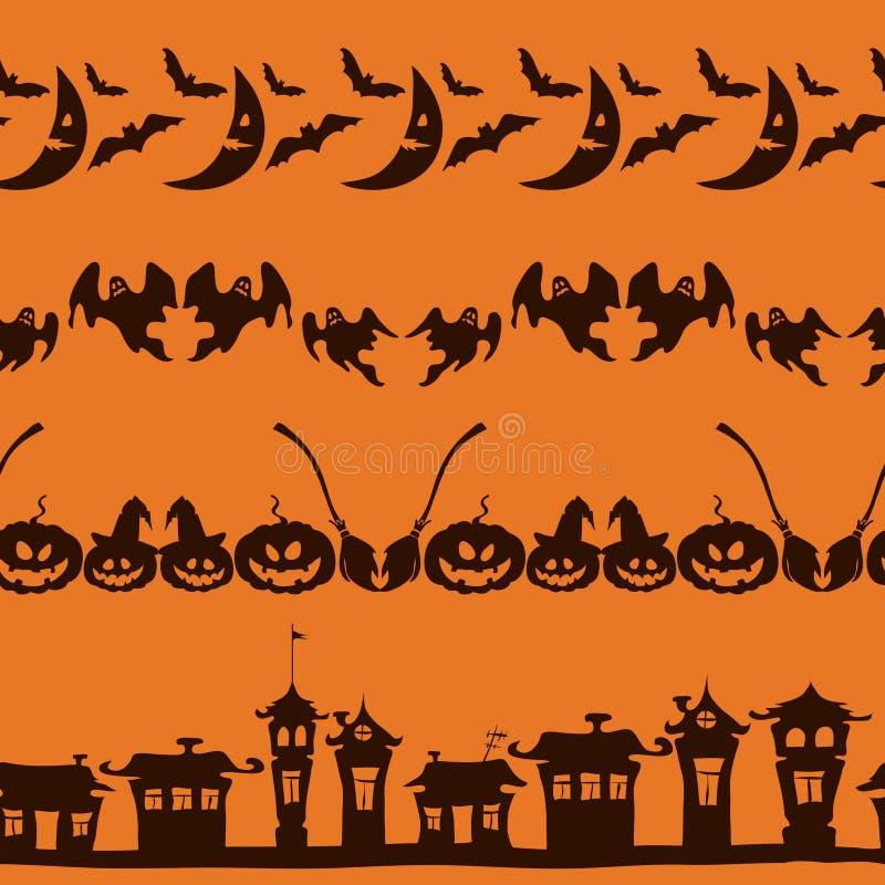Frontières de Halloween réglées sur le fond orange illustration libre de droits