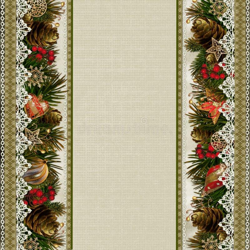 Frontières des décorations de Noël avec la dentelle sur le fond de vintage illustration de vecteur