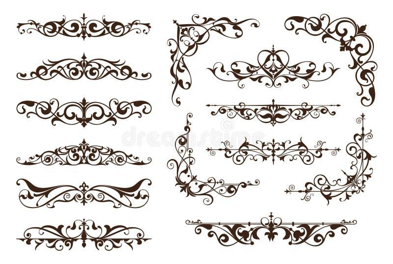 Frontières et coins ornementaux de conception illustration de vecteur