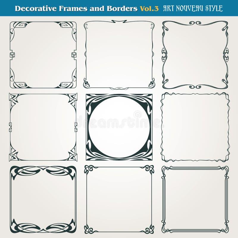Frontières et vecteur décoratifs de style d'Art Nouveau de cadres illustration stock