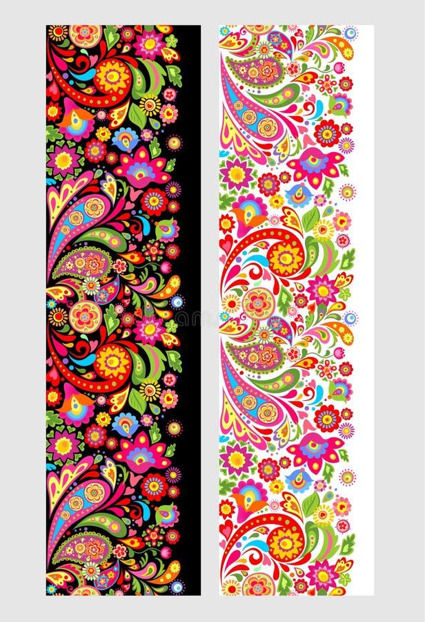 Frontières ethniques florales sans couture avec les fleurs abstraites colorées illustration de vecteur