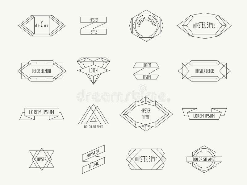 Frontières géométriques de hippie de vintage pour des labels illustration libre de droits