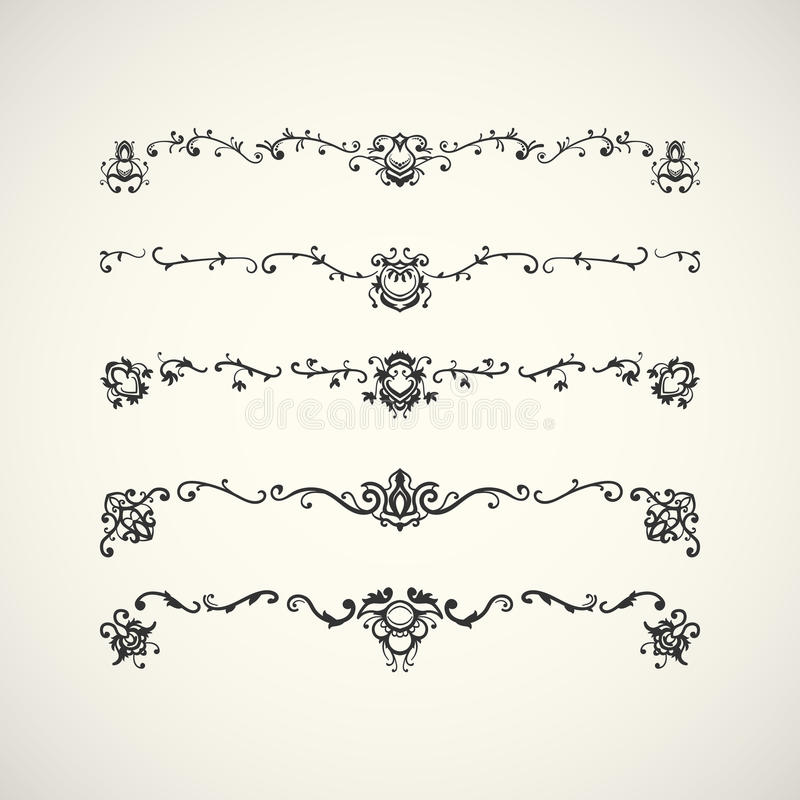Frontières noires avec le modèle floral arabe Illustration de vecteur illustration stock