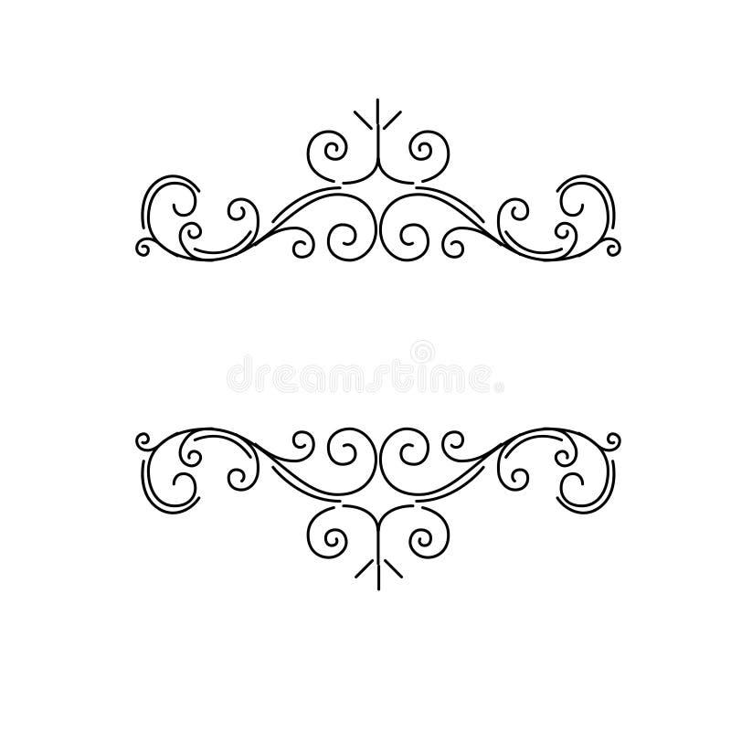 Frontières ornementales, diviseurs de page de vintage de flourish, remous royaux d'ornement et éléments classiques de décoration  illustration stock