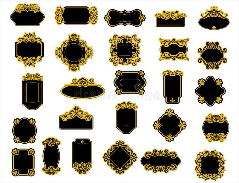 Frontières ou cadres noirs et jaunes illustration stock