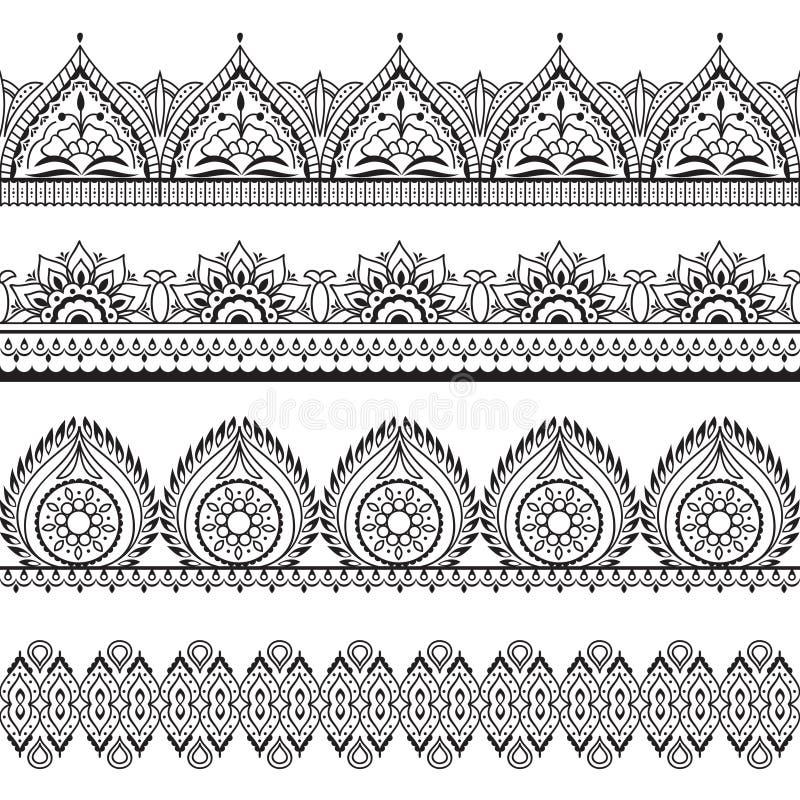Frontières sans couture de Mehndi Modèles d'oriental de henné Cadres floraux indiens de vecteur illustration de vecteur