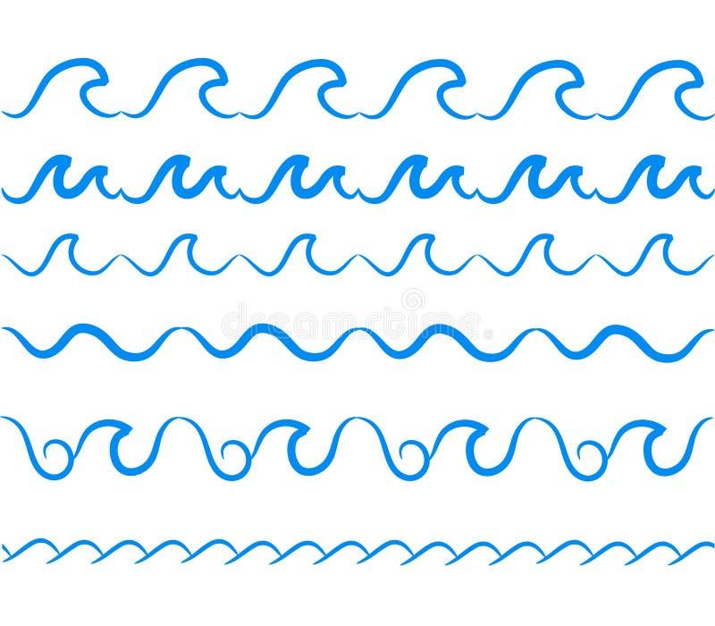 Frontières sans couture de vecteur de vagues d'eau de mer réglées Mer décorative de vague illustration libre de droits