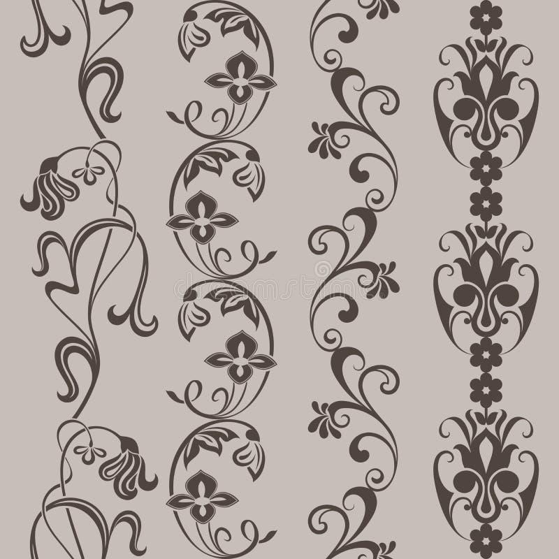 Frontières verticales florales de vintage sans couture illustration de vecteur