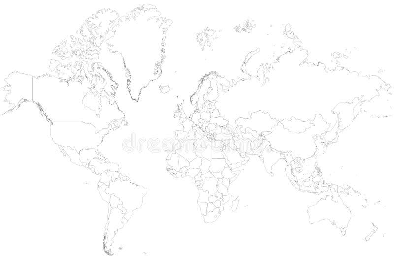 Frontières vides de carte du monde image stock