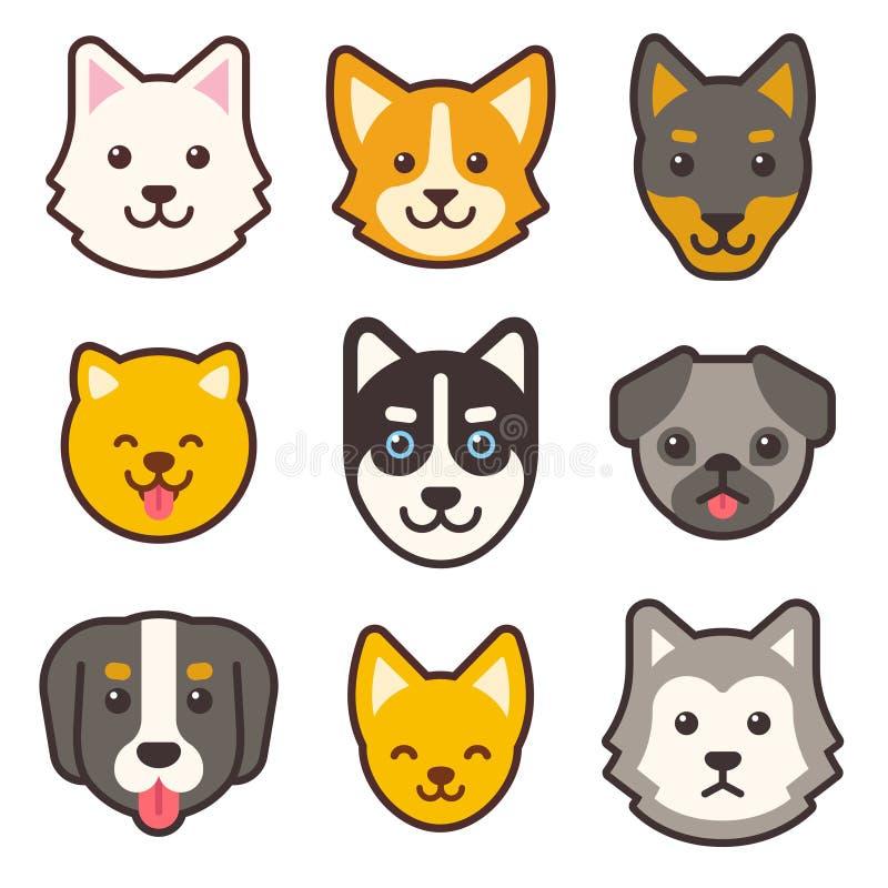 Fronti del cane del fumetto messi illustrazione di stock