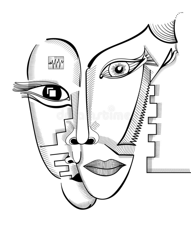Fronti del disegno della mano nello stile di cubismo Modello surreale astratto di vettore illustrazione vettoriale