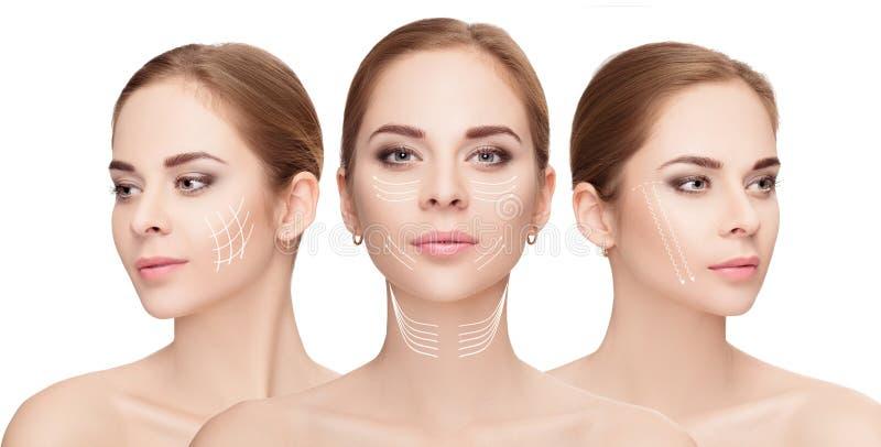 fronti della donna con le frecce sopra fondo bianco Raggiro di lifting facciale fotografia stock libera da diritti