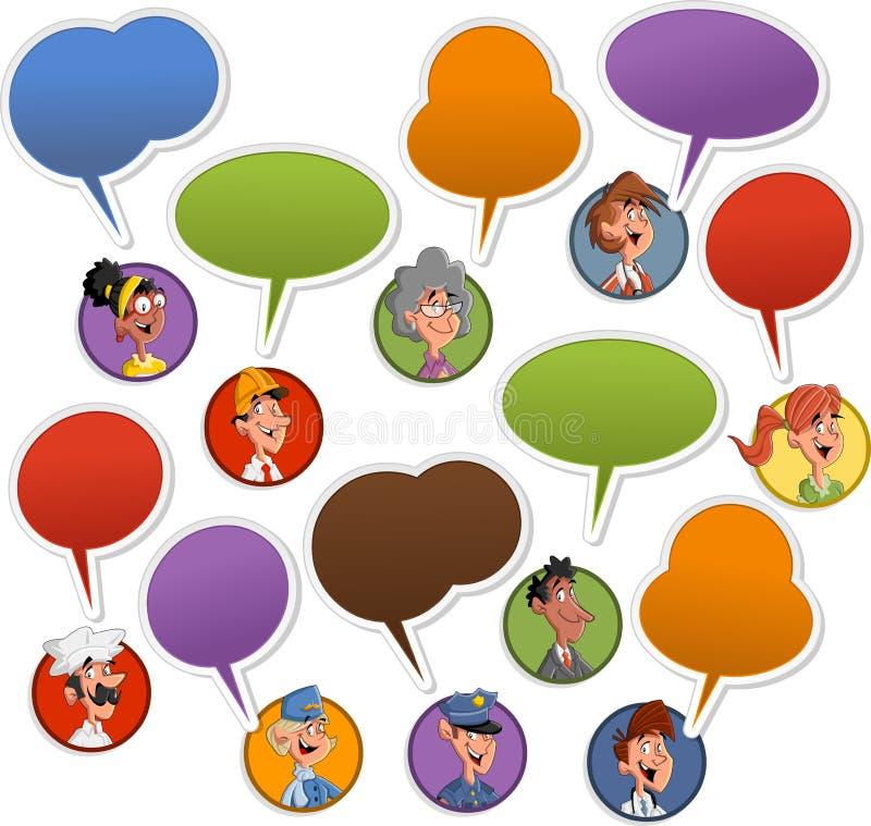 Fronti della gente con le icone dell'aerostato di discorso royalty illustrazione gratis