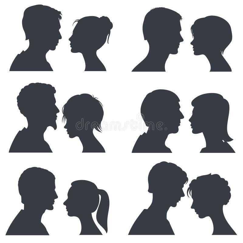 Fronti delle coppie, giovane ragazzo e siluette cape di vettore della ragazza isolati su bianco illustrazione di stock