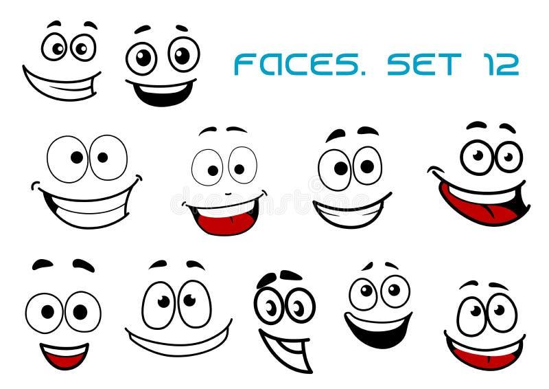 Fronti di emozioni con felicità e divertimento illustrazione di stock