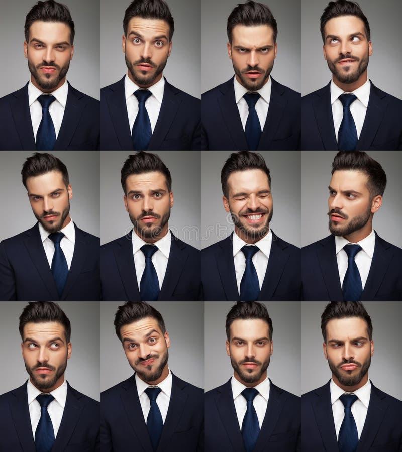 Fronti di un uomo di affari - immagine del collage fotografie stock libere da diritti