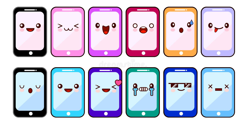 Fronti divertenti dei personaggi dei cartoni animati di Smartphone Insieme dei cellulari allegri di Kawaii Apps online Progettazi illustrazione di stock