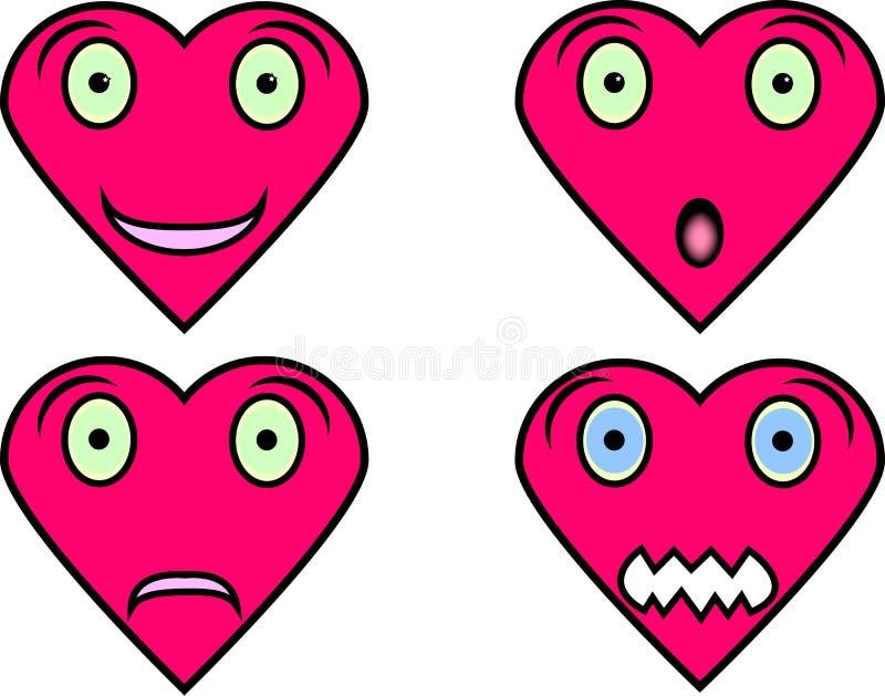 Fronti a forma di del cuore con differenti espressioni fotografia stock