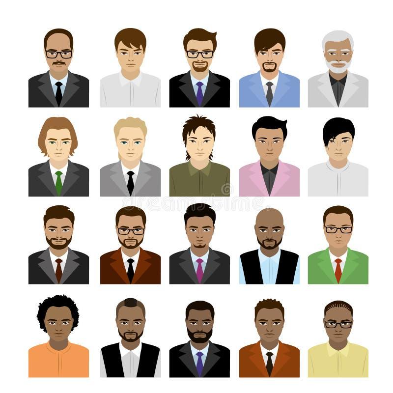 Fronti maschii del grande insieme delle corse, dell'avatar o dell'icona differente illustrazione vettoriale