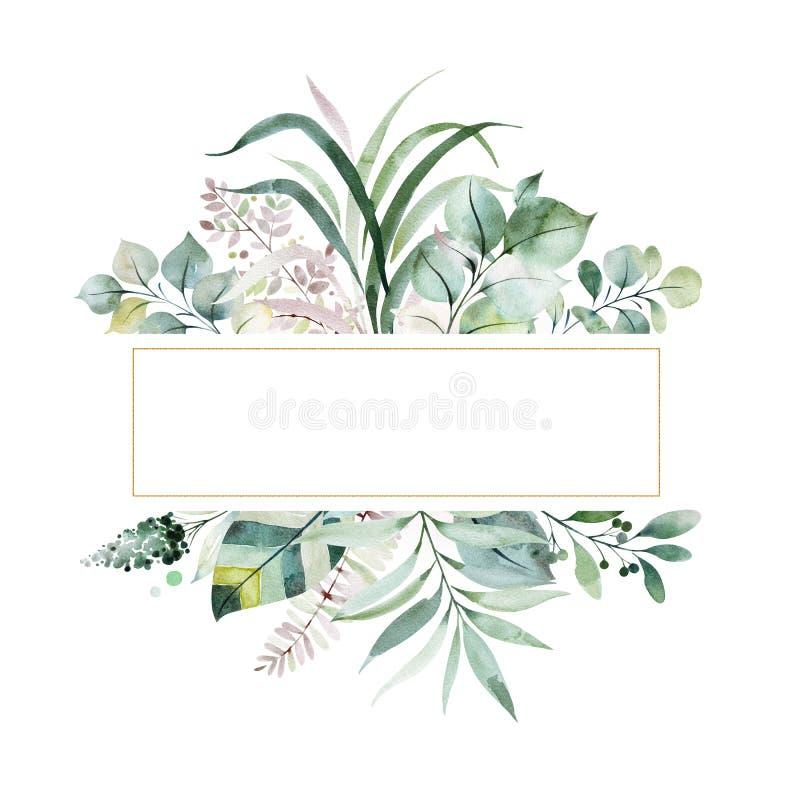 fronti?re Pr?-faite de cadre avec le feuillage, les feuilles de paume et de foug?re, les branches et plus illustration de vecteur