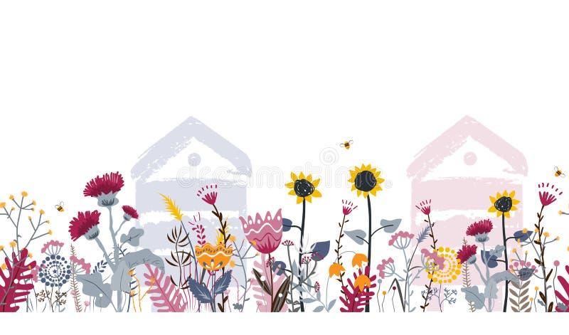 Fronti?re sans couture lumineuse de pr? avec des ruches, des abeilles, et des fleurs Vecteur concept de rucher illustration stock