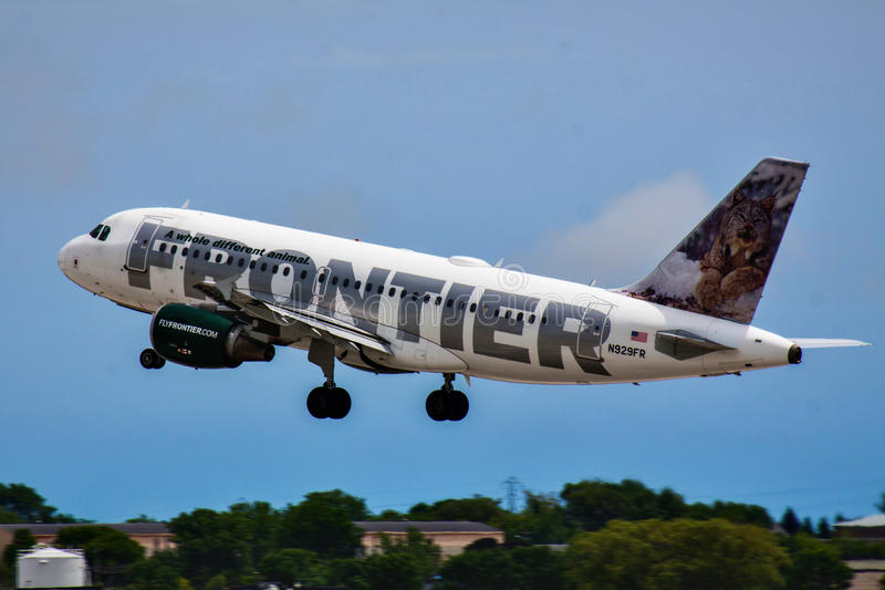 Frontier Airlines Aerobus zdjęcie royalty free