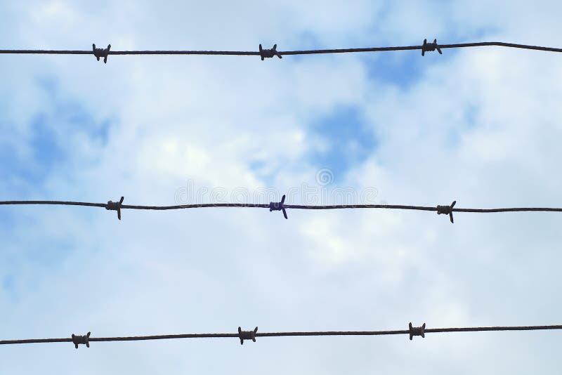 Frontiera militare della prigione del recinto del barbwire della difesa del metallo di sicurezza della prigione pungente di prote fotografia stock libera da diritti