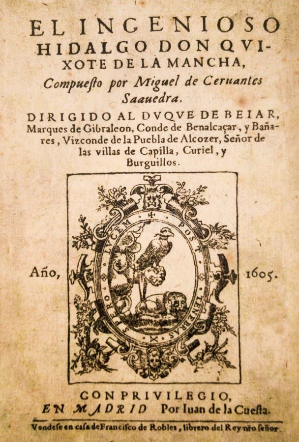 Frontispício da novela de Don Quixote por Miguel de Cervantes foto de stock
