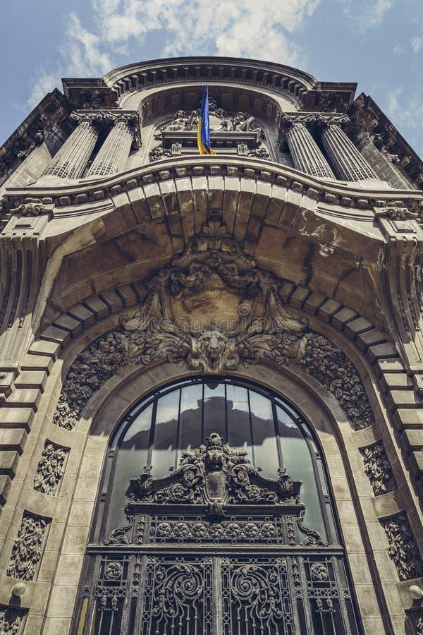 Frontispício do palácio da bolsa de valores imagem de stock royalty free