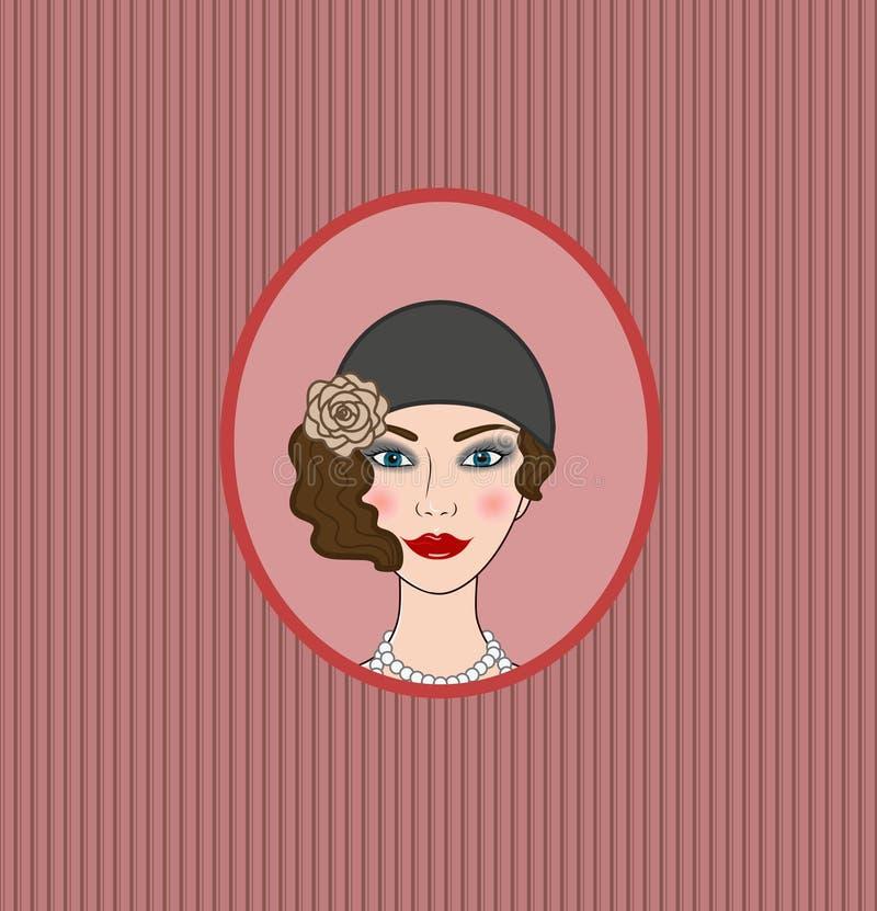 Frontispice de vignette de portrait de style de la fille 20s-30s d'aileron illustration stock