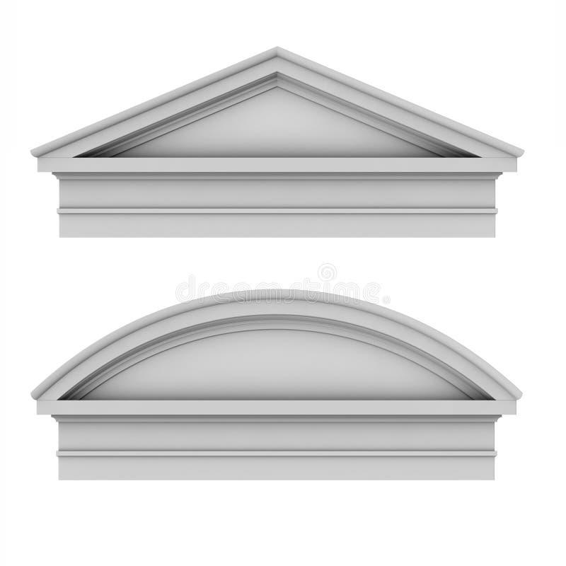 frontones toscanos romanos de la configuración clásica 3d stock de ilustración