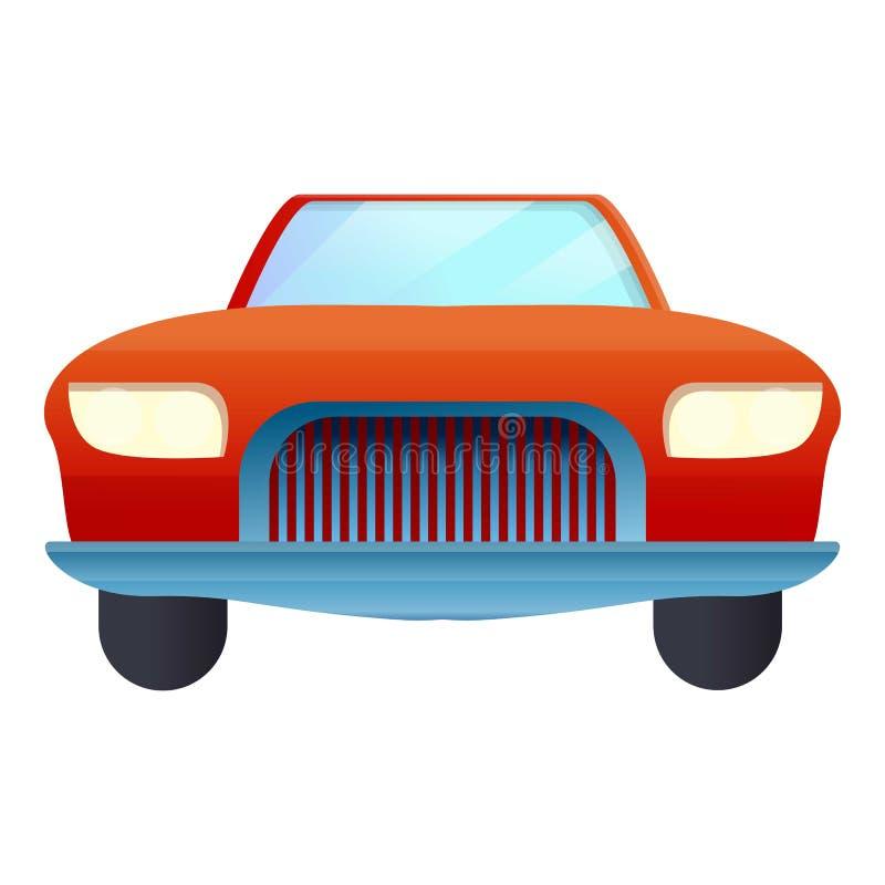 Frontowa czerwona kabriolet ikona, kreskówka styl ilustracja wektor