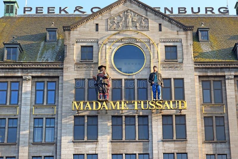 Frontowa fasada Madame Tussauds Amsterdam na Dam Square, holandie obraz stock