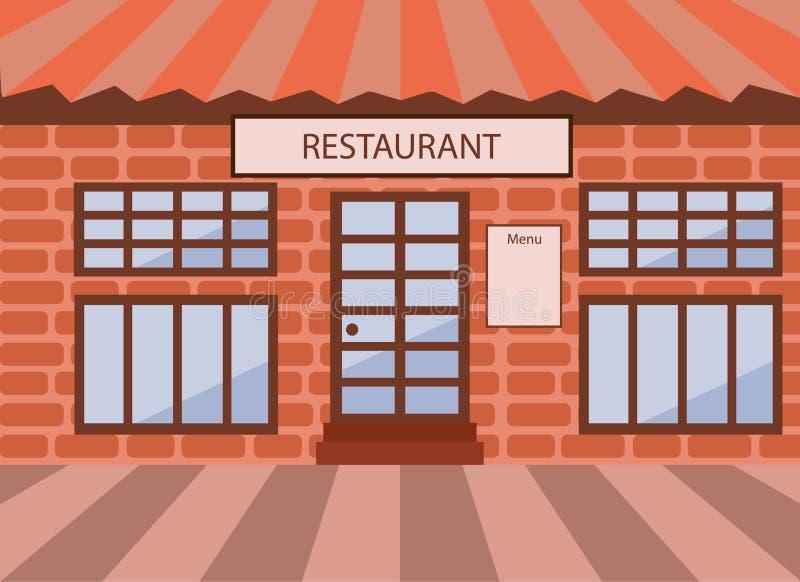 Frontowa fasada restauracja ilustracji