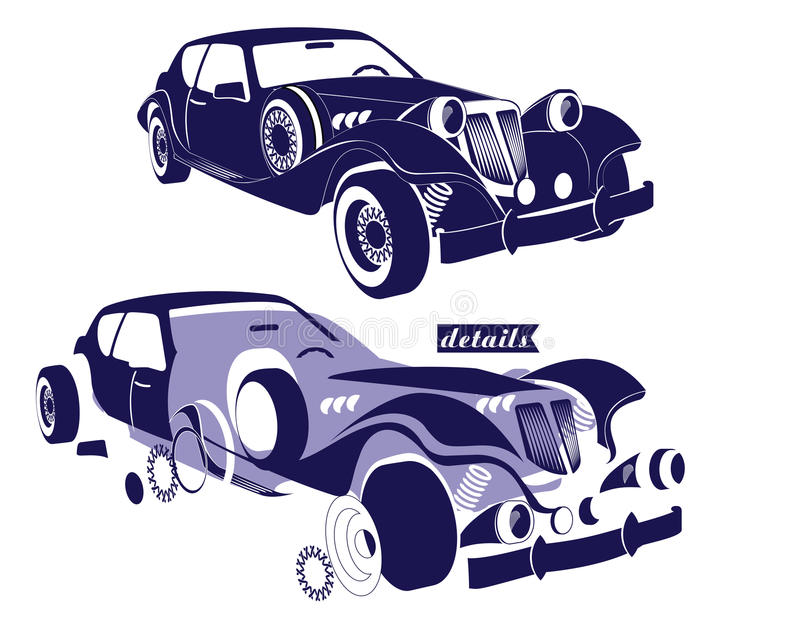 Frontowego i bocznego widoku retro samochód i widok szczegół części maszyna - koła, obręcze kapiszon samochód wektor royalty ilustracja
