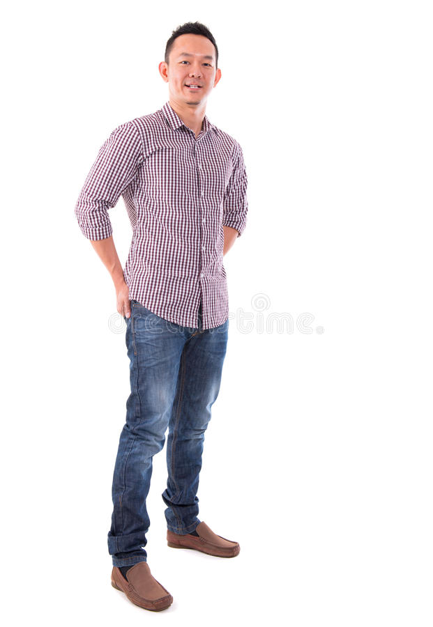 Frontowego widoku ciała folujący ufny Azjatycki mężczyzna obrazy stock