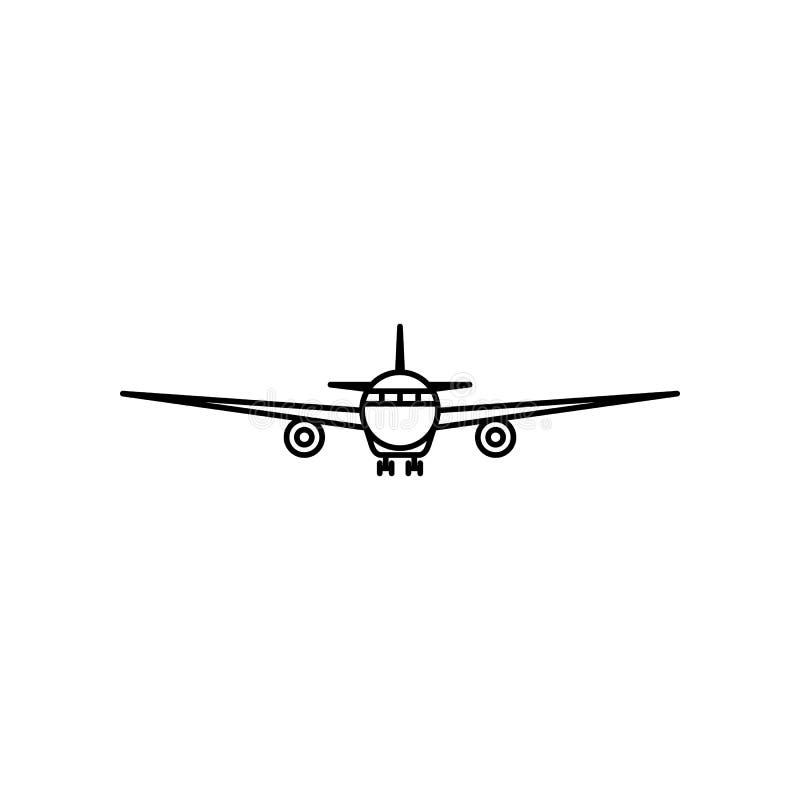 Frontowego widoku samolotu konturu ikona ilustracji