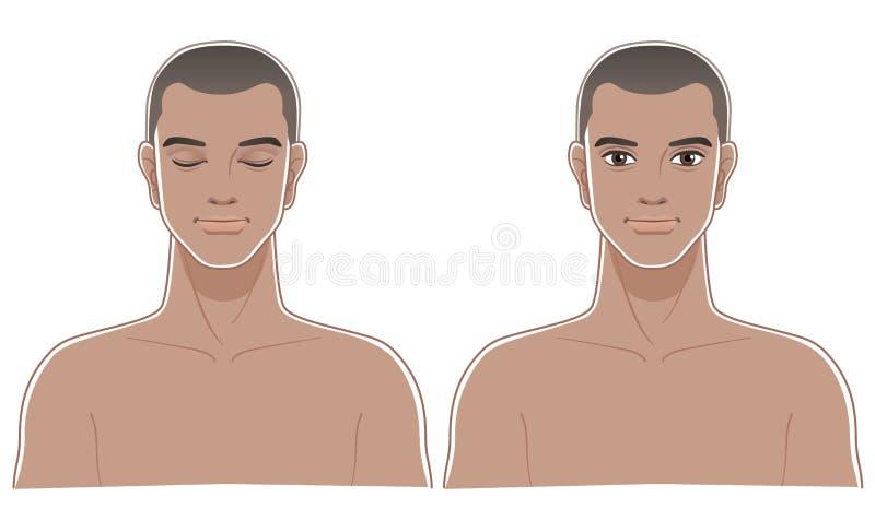 Frontowi portrety Zdrowy Afrykański przyzwoicie mężczyzna ilustracji