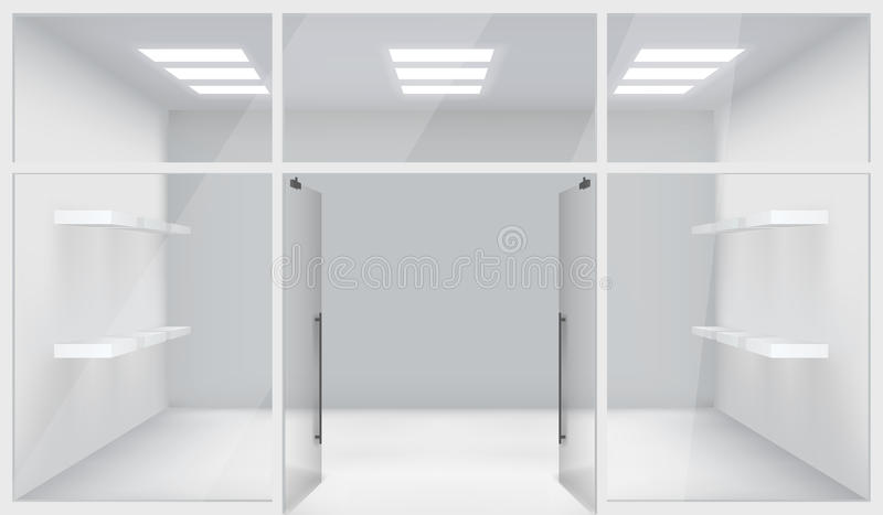 Frontowi sklepu sklepu 3d Realistyczni Astronautyczni otwarte drzwi Odkładają szablonu Mockup tła wektoru ilustrację royalty ilustracja