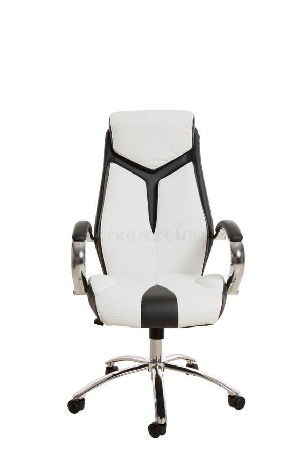 Frontowi widok nowożytny biurowy krzesło, wyścielany w bielu i obraz royalty free